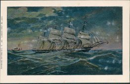 4 Mast Sailboat - Early 1900's German Germany Metallic Postcard