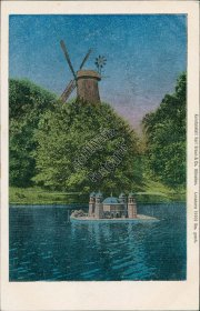 Windmill, Scenic View - Early 1900's Metallic Postcard