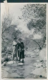 2 Women, Scenic View Near Roosevelt Dam, AZ - 1917 Photo