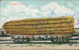 A Carload of Corn, M. K. & T. R.R. Exaggeration Postcard, 1911 Winnie, TX Cancel