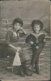 Girl, Boy Dressed in Sailor Outfit - Early 1900's Real Photo RP Russian Postcard