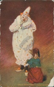 Clown, Dog - Dress Rehearsal O. Gross Signed Pre-1907 Circus Postcard