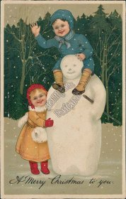Girl Hugging, Boy Riding Snowman - Early 1900's Embossed Christmas XMAS Postcard