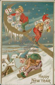 Gnomes, Sled, Money Bags - Early 1900's New Year Embossed Postcard