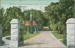 Entrance, Lindwood Cemetery, Fort Wayne, IN Indiana - 1907 Postcard
