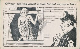Police Officer, Nude Woman - Early 1900's Risque Comic Postcard