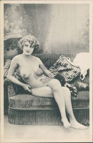 Nude Woman Sitting on Couch, Sofa - Early 1900's Risque Postcard