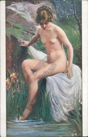 Nude Woman, Outdoor Scene, Grenouille Fleuron - Early 1900's French Postcard
