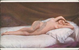 Nude Woman Laying on Bed, Sleep - Early 1900's Salon de Paris French Postcard