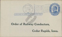 Order of Railway Conductors, Cedar Rapids, IA Iowa 1913 Postal Card