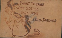 Bring My Clothes Back Home, Colorado Springs, CO Pre-1907 Leather Postcard