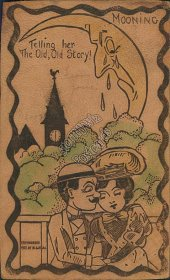 Couple, Mooning, Moon Face - 1907 W. A. Heal Leather RPO Postcard