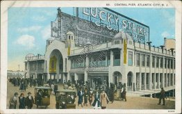 Central Pier, Lucky Strike Cigarettes, Atlantic City, NJ Early 1900's Postcard