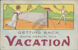 Getting Back Health, Tennis Couple, Plainfield, IL 1914 Postcard
