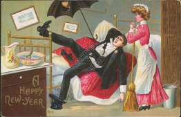 Drunk Man, Woman w/ Broom - Early 1900's Embossed New Year's Day Postcard