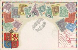 Straits Settlements Stamps, Louny, Czech Republic, Philatelic Postcard, Postmark