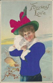 Fondest Love, Woman in Silk Blue Coat, Red Hat 1911 Valentines Day Silk Postcard