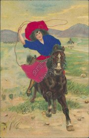 Woman Riding Horse w/ Lasso - Early 1900's Silk Western Postcard