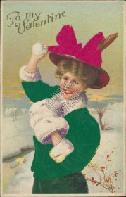 Woman, Green Coat, Red Hat - Early 1900's Silk Valentines Day Postcard