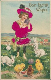 Girl, Red Dress, Bunnies, Chicks - Early 1900's Silk Easter Postcard