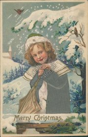 Girl in Green Coat - Early 1900's Embossed Silk Christmas XMAS Postcard