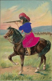 Girl on Horse Back, Pointing Rifle Gun - Early 1900's Silk Postcard