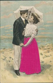 Couple Kissing Under Umbrella - Early 1900's Valentines Silk Postcard