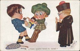 Kids Fighting Over Baby Doll, Boy Dressed as Priest Hertogs Argentina Postcard