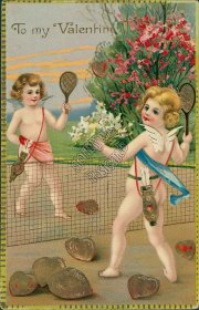 Cherubs Playing Tennis w/ Hearts - Early 1900's Valentine's Day Postcard