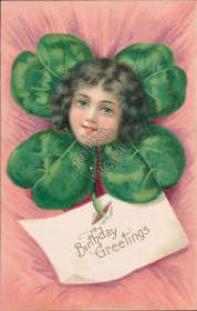 Flower Head Girl, 4 Leaf Clover - Early 1900's Birthday Embossed Postcard