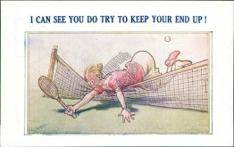 Woman Falling Over Tennis Net - Early 1900's Comic Postcard