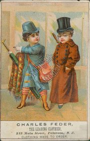 Charles Feder Clothier, 213 Main St., Paterson, NJ Victorian Trade Card