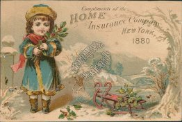 Girl, Sled, Home Insurance Company, New York City, NY 1880 Victorian Trade Card