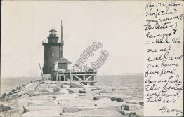 Lighthouse, Lewes, DE Delaware Rehoboth 1906 Real Photo RP Postcard