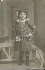 Russian Girl Standing on Bench - Early 1900's Real Photo RP Russia Postcard