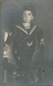Little Boy in Sailor Uniform - Early 1900's Real Photo RP Russian Postcard