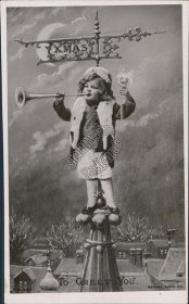 Girl Blowing Horn on Roof, Snow, Moon - Early 1900's RP Photo Christmas Postcard