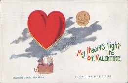 Heart Air Balloon, Smiling Moon Early 1900's F. Derbis Valentine's Day Postcard