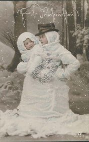 Children Dressed as Snowman - Early 1900's German Christmas XMAS RP Postcard