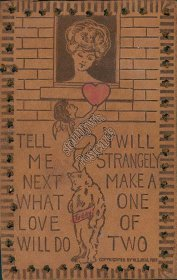 Cherub, Teddy Bear W. S. Neal 1907 Pittsburg, PA LEATHER Valentine Postcard
