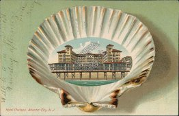 Hotel Chelsea, Atlantic City, NJ New Jersey 1907 SHELL BORDER Postcard
