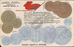 Coins, Currency - Great Britain, Ireland Exchange Rate Embossed Postcard