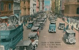 Traffic, 5th Ave., 50th St., Double Deck Bus, New York City, NY - Early Postcard