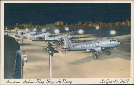 American Airlines Flag Ships Planes, La Guardia Airport, New York City Postcard