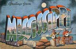 Greetings from Mississippi - Large Letter Black Americana Postcard