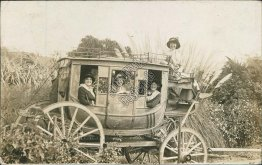 Group of Women, Coach Wagon / Carriage, Los Angeles, CA 1913 RP Photo Postcard