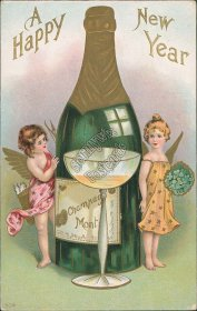 Angel, Cupid, Giant Bottle of Champagne - 1909 New Year Postcard