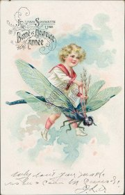 Girl, Giant Dragonfly - Early 1900's French Birthday TUCK Postcard