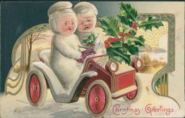 Snowman Driving Car - 1909 Embossed Christmas WINSCH Postcard