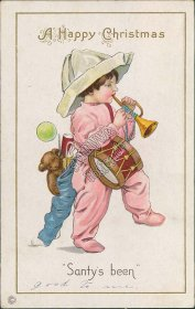 Girl, Teddy Bear, Toys - Santy's Been - Early 1900's Christmas Santa Postcard